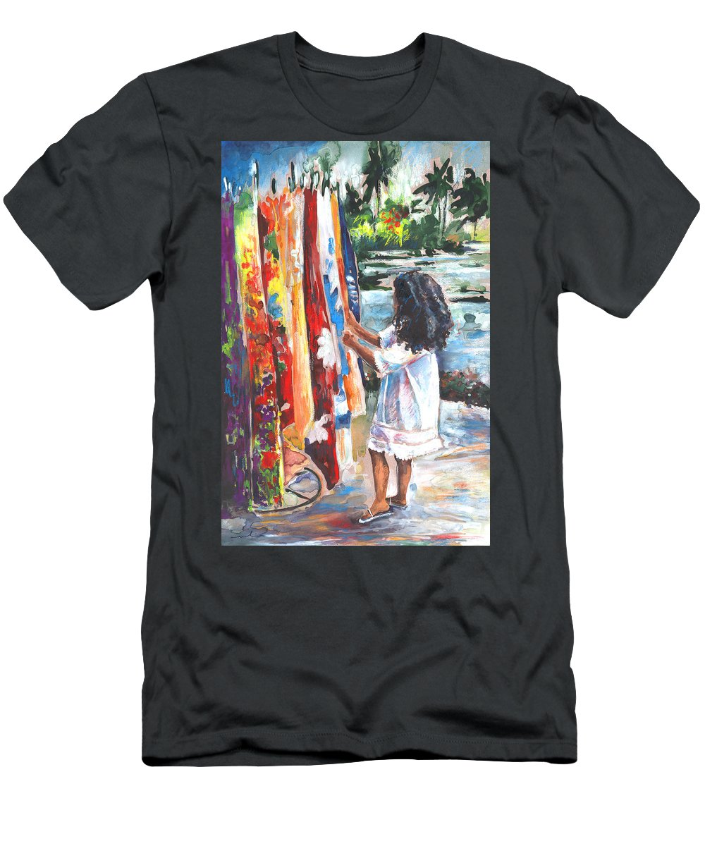 Travel Men's T-Shirt (Athletic Fit) featuring the painting Tahitian Girl With Pareos by Miki De Goodaboom