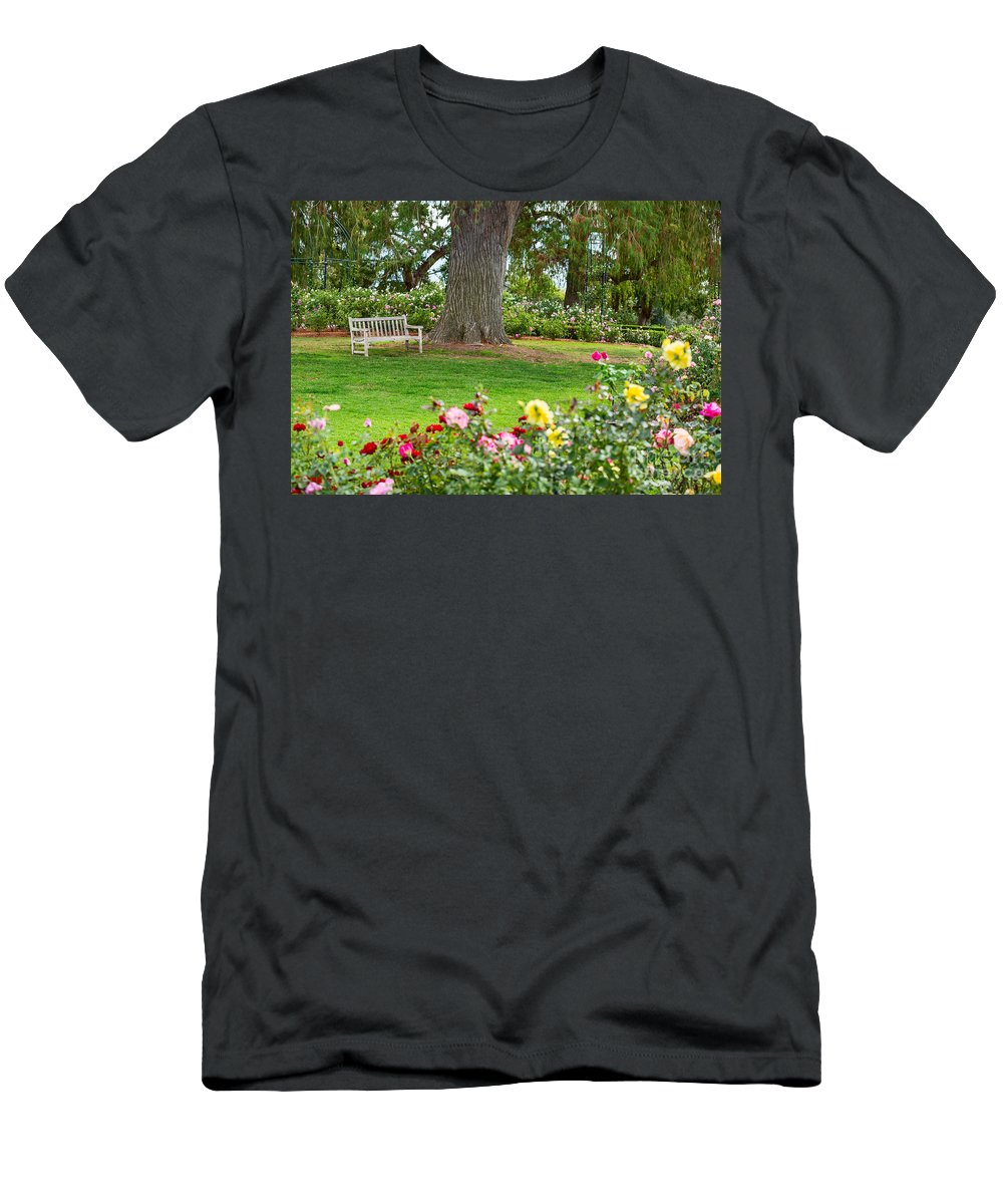 Rose Garden Men's T-Shirt (Athletic Fit) featuring the photograph Take A Seat - Beautiful Rose Garden Of The Huntington Library. by Jamie Pham