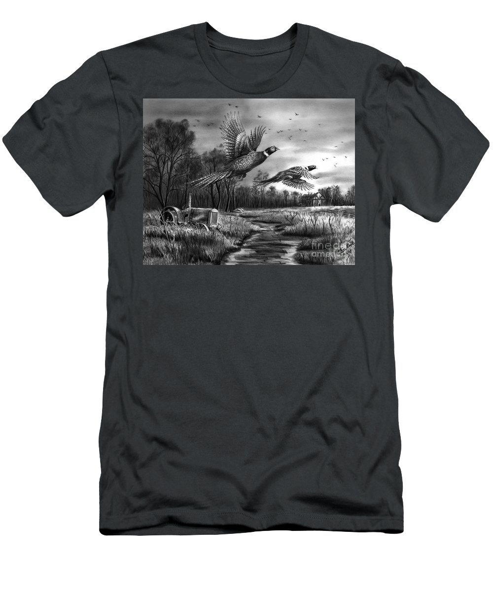 Taking Flight Men's T-Shirt (Athletic Fit) featuring the drawing Taking Flight by Peter Piatt