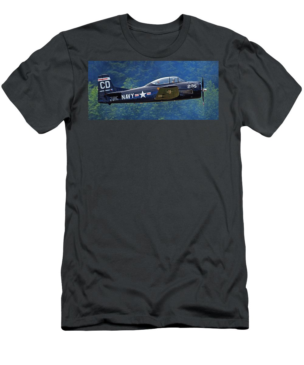 Plane Men's T-Shirt (Athletic Fit) featuring the photograph Taking Off by Randy Hall