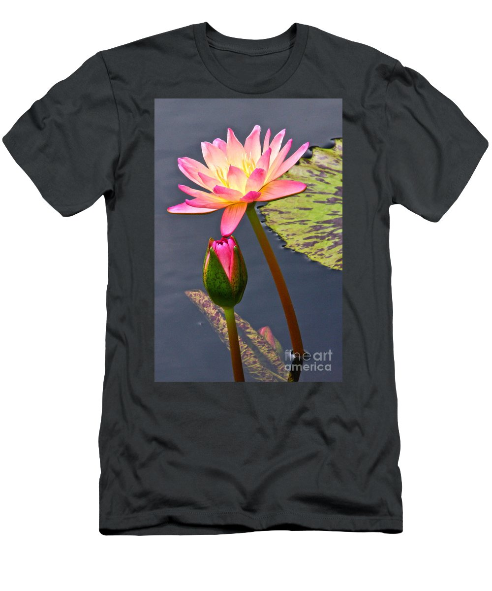Tropical Waterlilies Men's T-Shirt (Athletic Fit) featuring the photograph Tall Waterlily Beauty by Byron Varvarigos