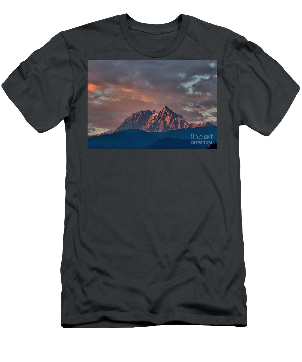 British Columbia Sunset Men's T-Shirt (Athletic Fit) featuring the photograph Tantalus Mountain Sunset - British Columbia by Adam Jewell