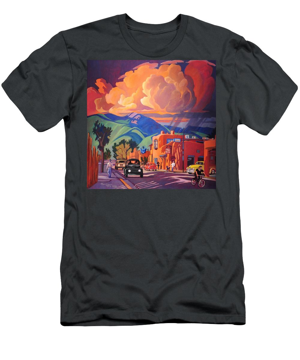 Taos Men's T-Shirt (Athletic Fit) featuring the painting Taos Inn Monsoon by Art West