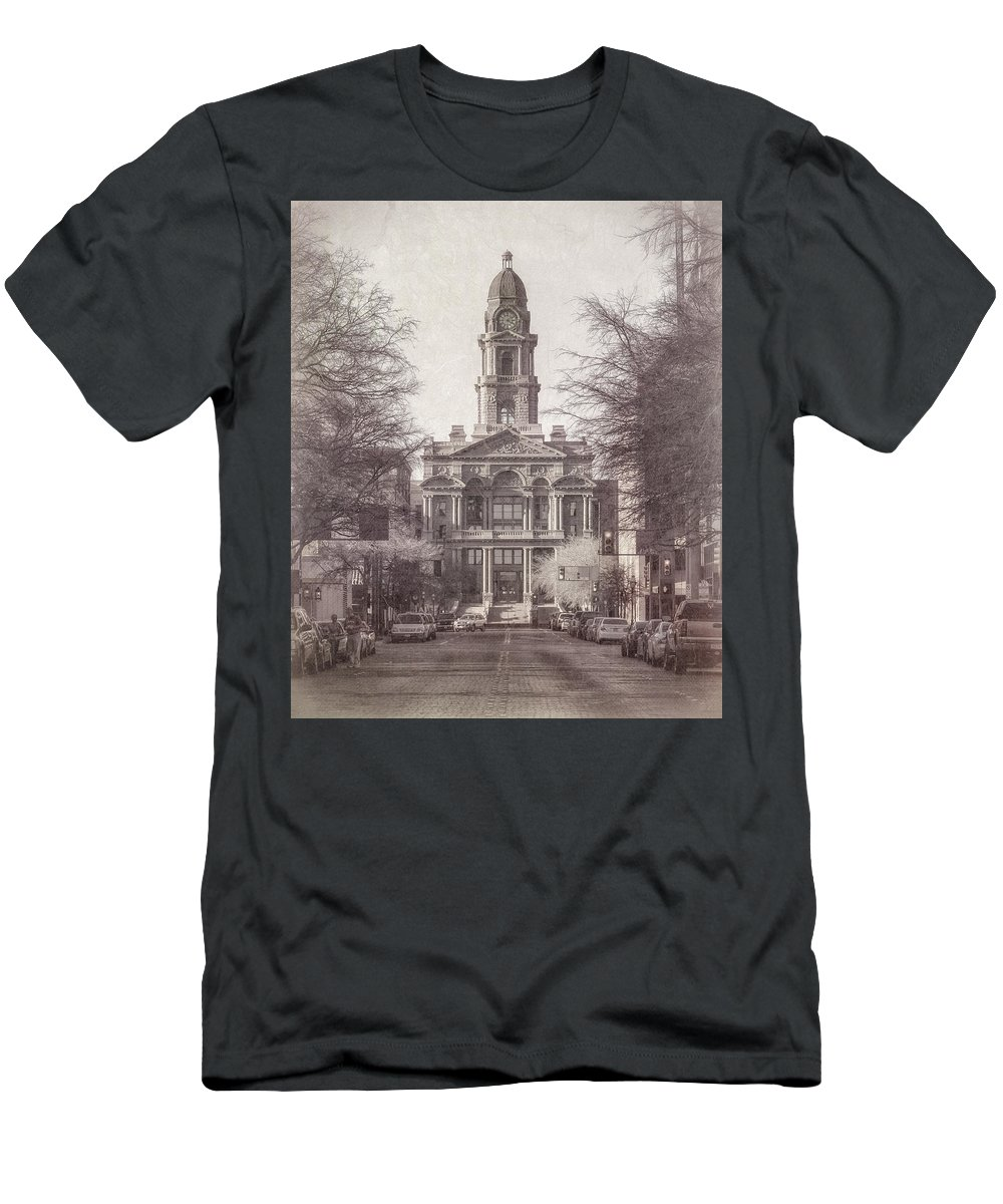 Courthouse Men's T-Shirt (Athletic Fit) featuring the photograph Tarrant County Courthouse by Joan Carroll