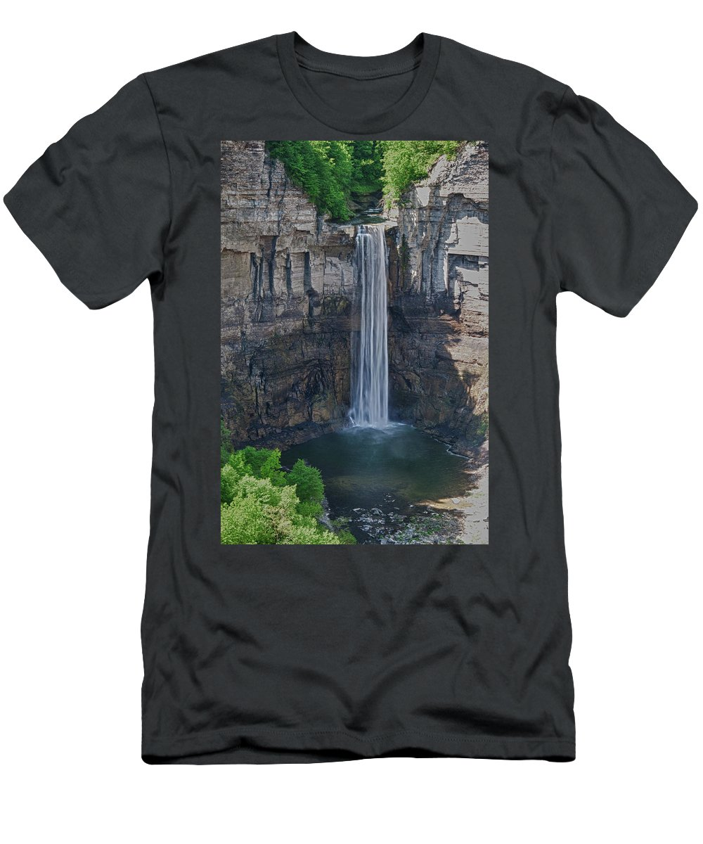 Water Men's T-Shirt (Athletic Fit) featuring the photograph Taughannock Falls 0453 by Guy Whiteley