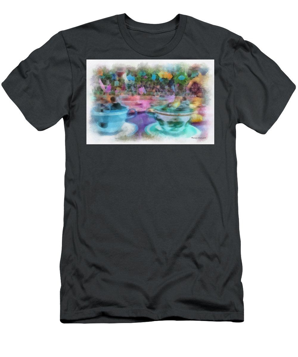 Disney Men's T-Shirt (Athletic Fit) featuring the photograph Tea Cup Ride Fantasyland Disneyland Pa 01 by Thomas Woolworth
