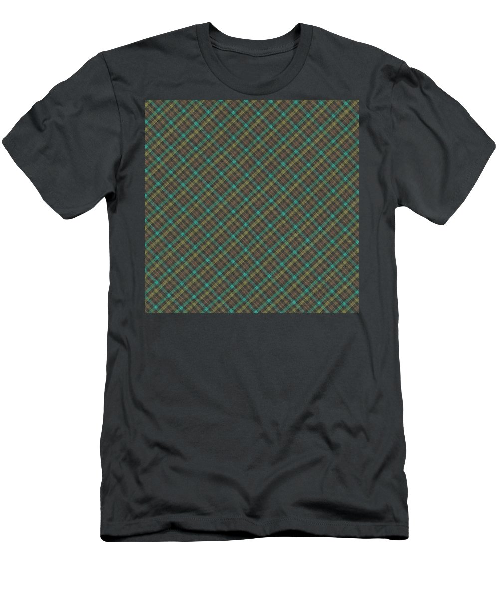 Pattern Men's T-Shirt (Athletic Fit) featuring the photograph Teal And Green Diagonal Plaid Pattern Fabric Background by Keith Webber Jr