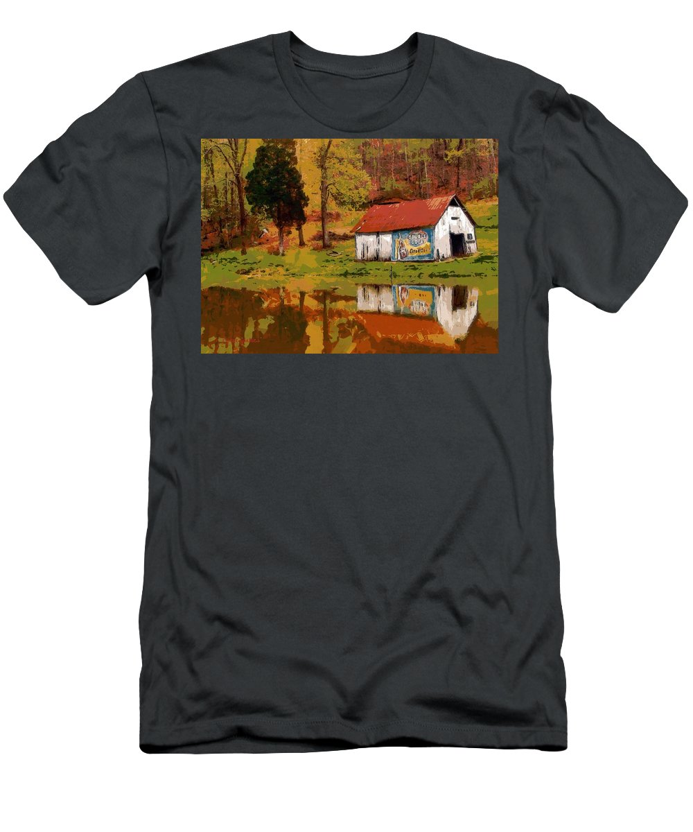 Barn Men's T-Shirt (Athletic Fit) featuring the painting Tennessee Barn by Lynne Jenkins