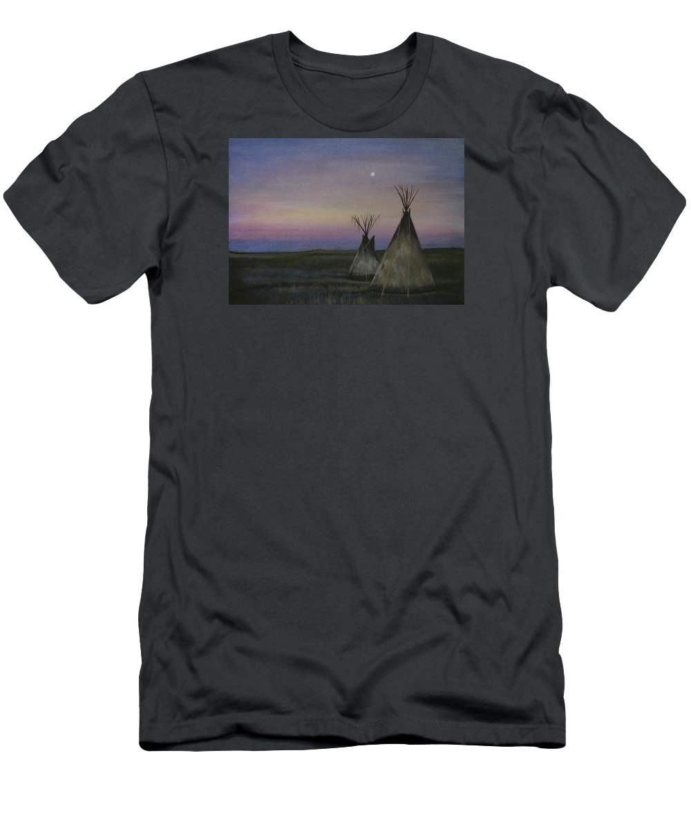 Tepee Men's T-Shirt (Athletic Fit) featuring the painting Teepees by Lucy Deane