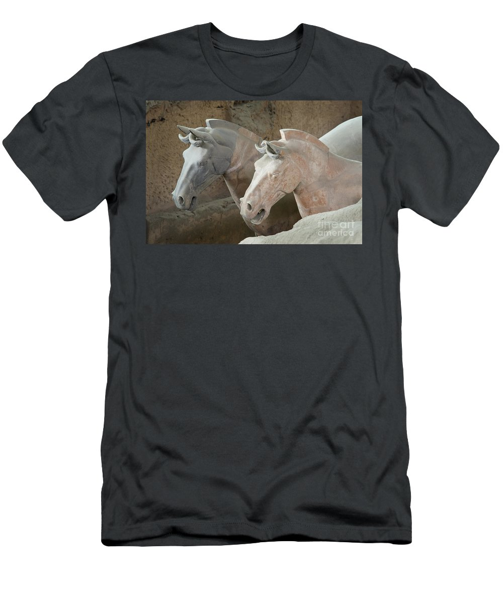 Archeology Men's T-Shirt (Athletic Fit) featuring the photograph Terracotta Warrior Horses, China by John Shaw