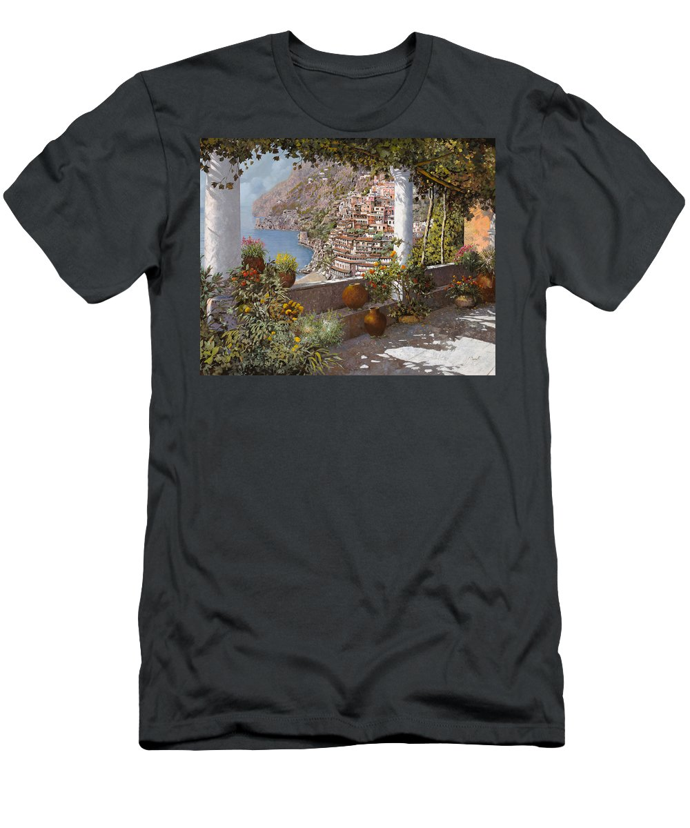 Positano Men's T-Shirt (Athletic Fit) featuring the painting terrazza a Positano by Guido Borelli