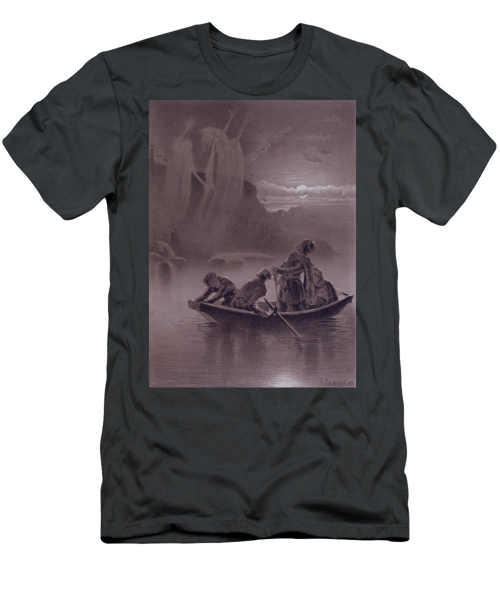 Ghost Men's T-Shirt (Athletic Fit) featuring the drawing Terrible Vengeance by Vladimir Egorovic Makovsky