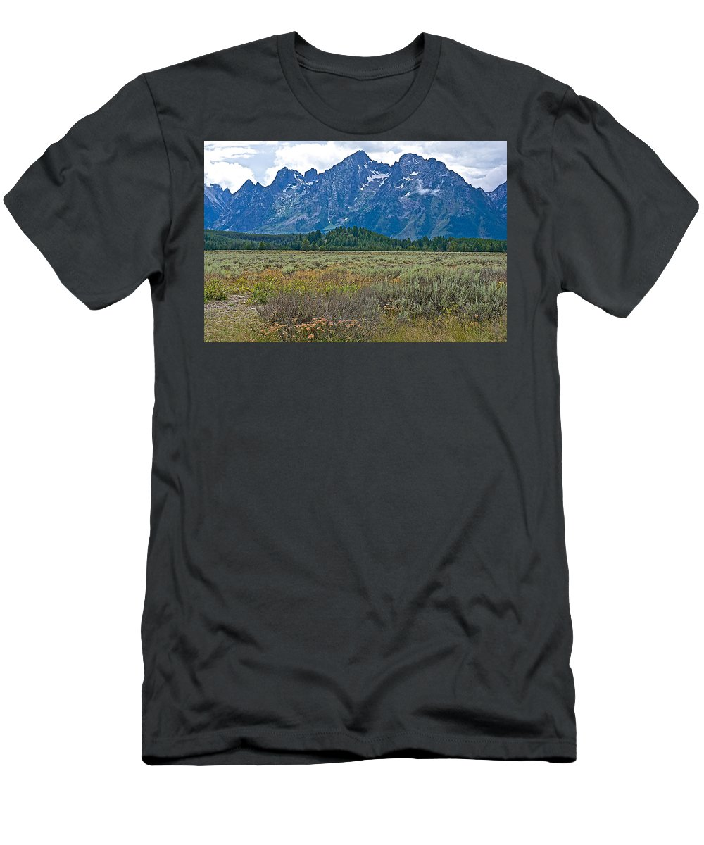 Teton Peaks And Flatland Near Jenny Lake In Grand Teton National Park Men's T-Shirt (Athletic Fit) featuring the photograph Teton Peaks And Flatland Near Jenny Lake In Grand Teton National Park-wyoming by Ruth Hager