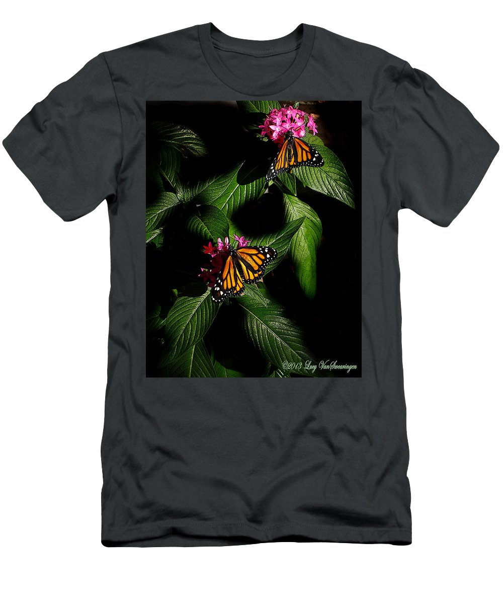 Monarch Butterfly Canvas Print Men's T-Shirt (Athletic Fit) featuring the photograph Texas Bred by Lucy VanSwearingen
