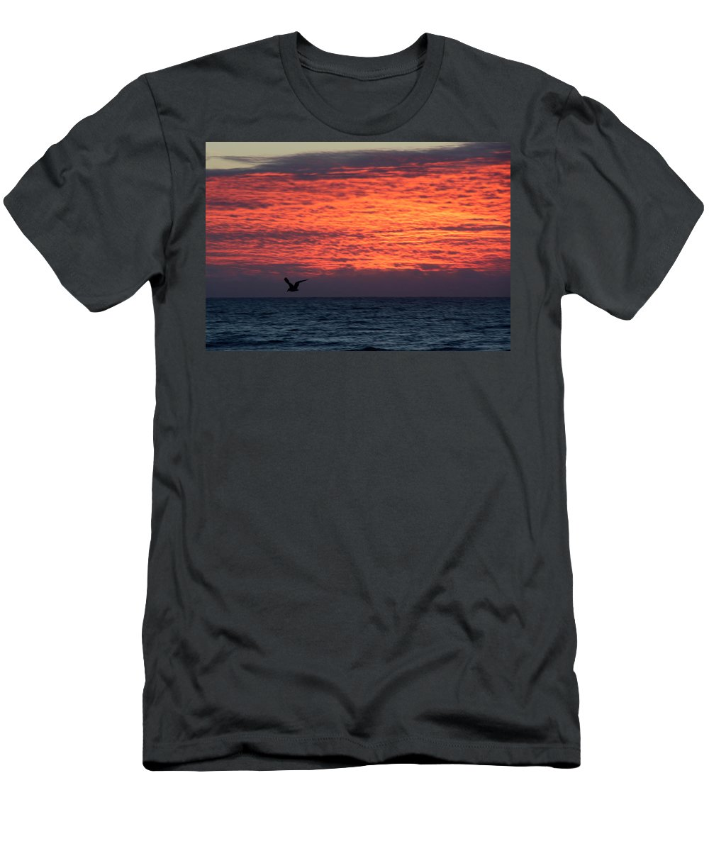 Topsail Men's T-Shirt (Athletic Fit) featuring the photograph Texture With Bird by Rand Wall