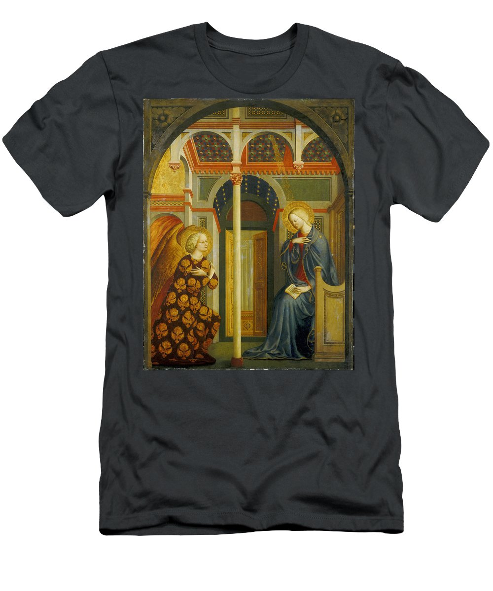 Angel; Gabriel; Archangel; Virgin; Mary; Madonna; Pronouncement; Message; Messenger; Halo; Halos; Early; Renaissance Men's T-Shirt (Athletic Fit) featuring the painting The Annunciation by Tommaso Masolino da Panicale