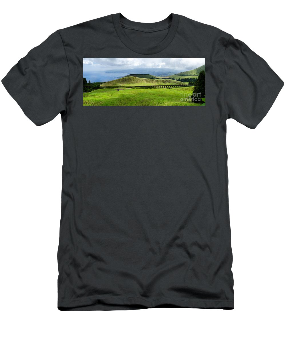 The Aqueduct Men's T-Shirt (Athletic Fit) featuring the photograph The Aqueduct Panoramic by Marco Andrade