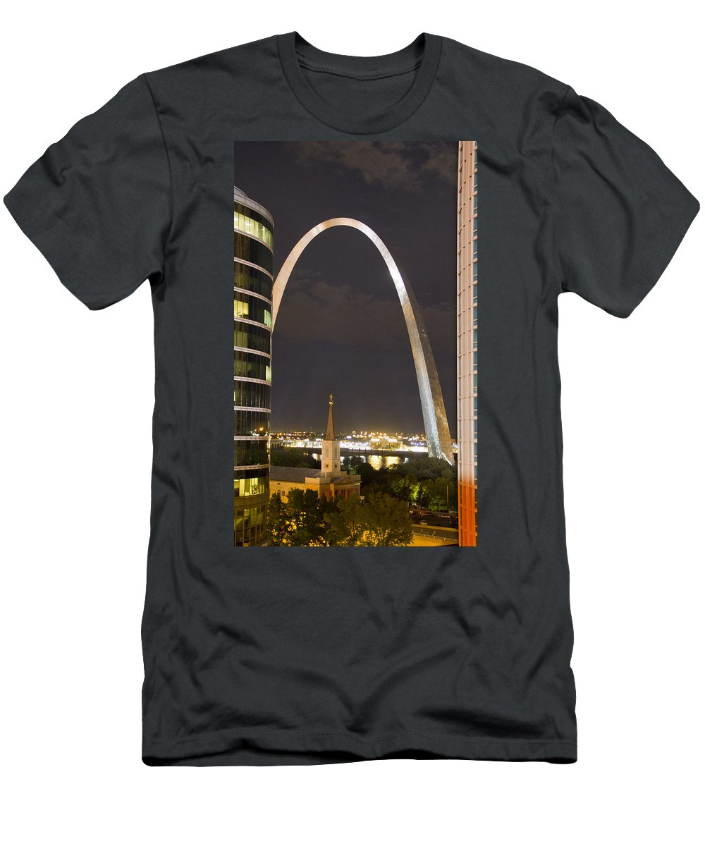 St Louis Men's T-Shirt (Athletic Fit) featuring the photograph The Arch And Cathedral by Garry McMichael