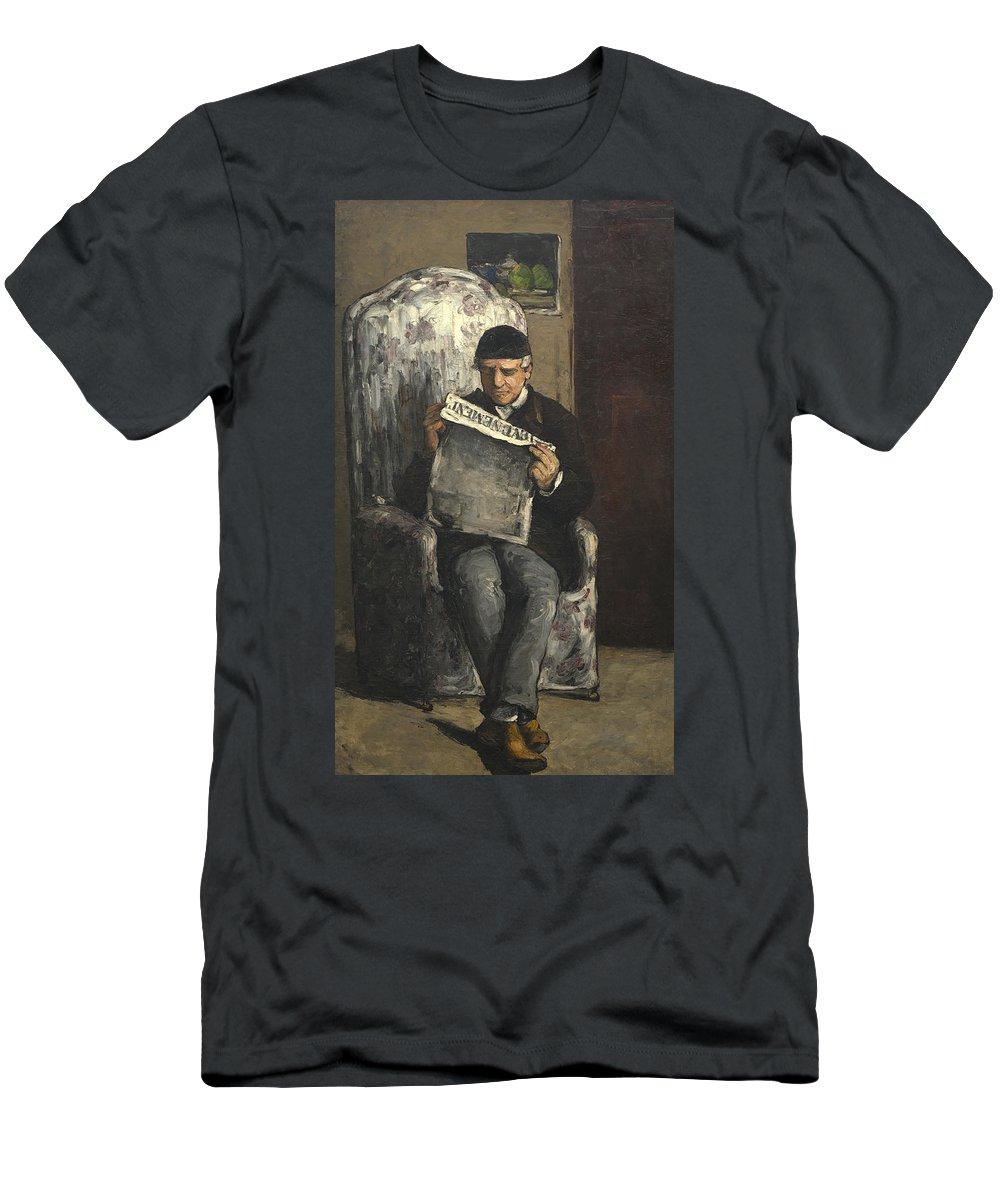 Portrait; Male; Post; Impressionist; Paper; L'evenement; Newspaper; Louis; Auguste Men's T-Shirt (Athletic Fit) featuring the painting The Artists Father Reading L Evenement by Paul Cezanne