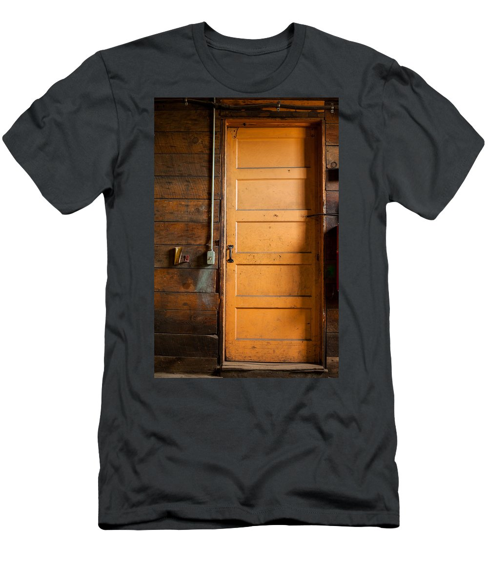 Door Men's T-Shirt (Athletic Fit) featuring the photograph The Back Door by Fran Riley