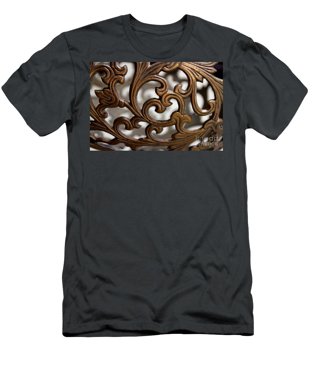 Scrolls Men's T-Shirt (Athletic Fit) featuring the photograph The Beauty Of Brass Scrolls 2 by Jennifer E Doll