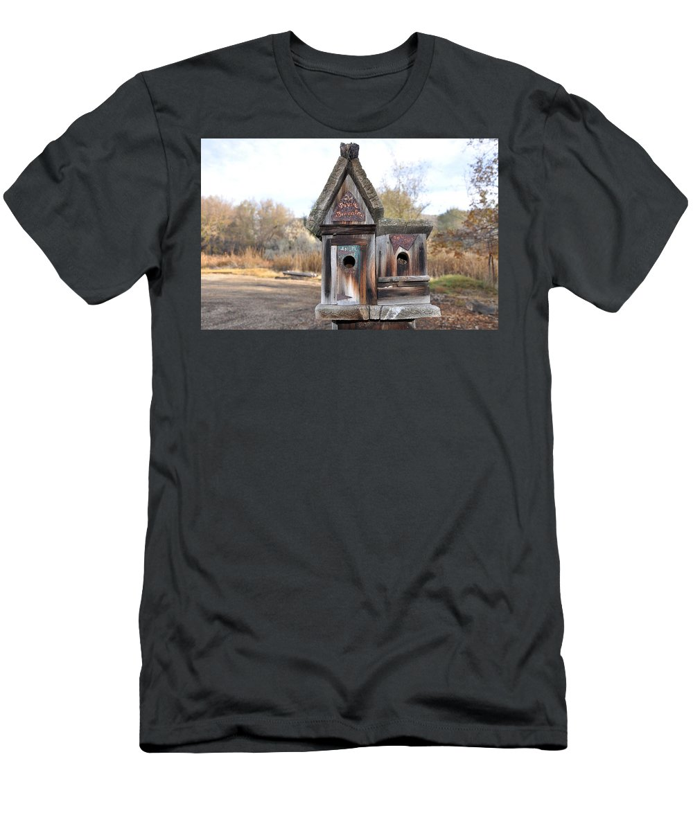 Melba; Idaho; Birdhouse; Shelter; Outdoor; Fall; Autumn; Leaves; Plant; Vegetation; Land; Landscape; Tree; Branch; House; Men's T-Shirt (Athletic Fit) featuring the photograph The Birdhouse Kingdom - Cedar Waxing by Image Takers Photography LLC - Carol Haddon