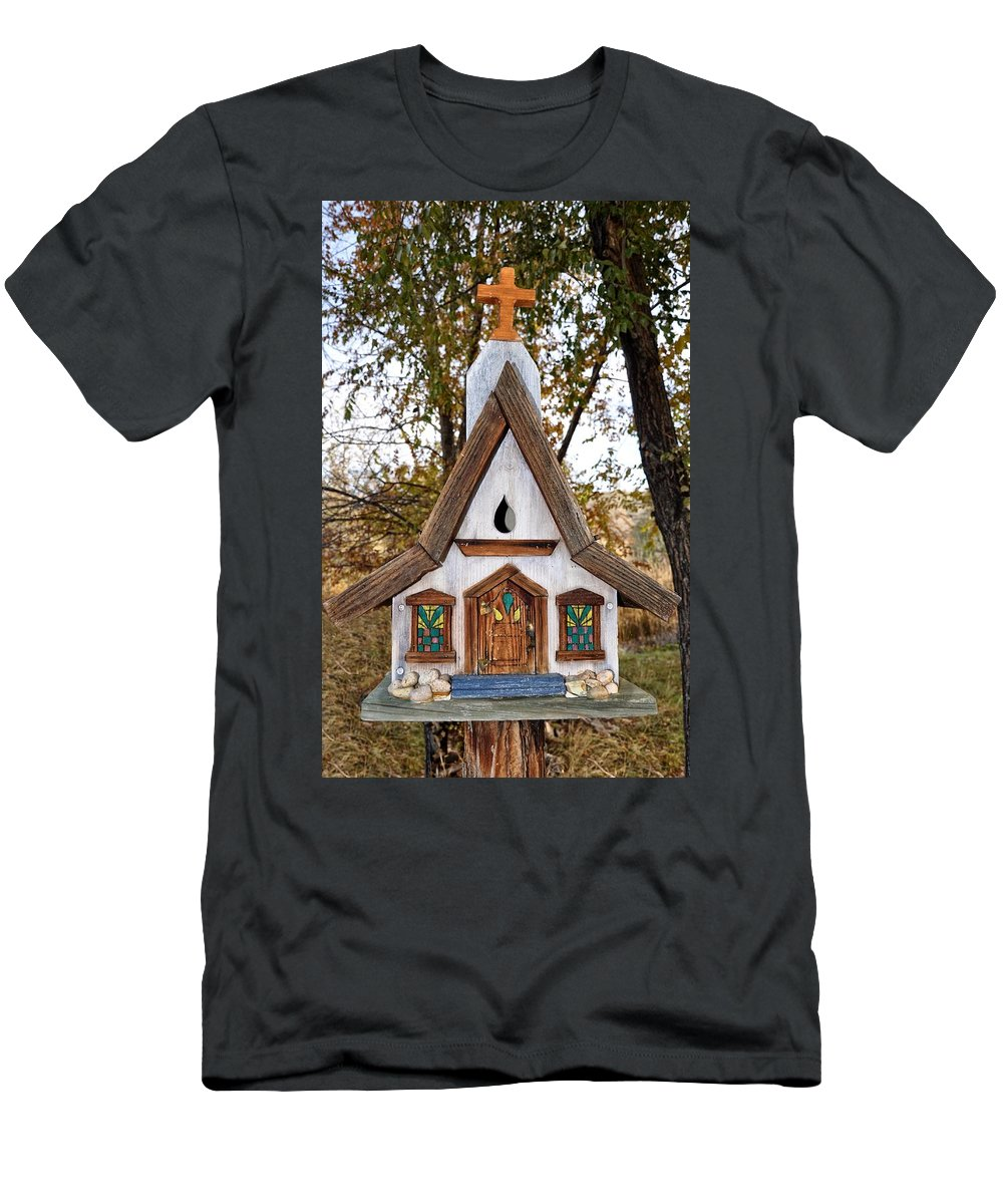 Melba; Idaho; Birdhouse; Shelter; Outdoor; Fall; Autumn; Leaves; Plant; Vegetation; Land; Landscape; Tree; Branch; House; Cross; Men's T-Shirt (Athletic Fit) featuring the photograph The Birdhouse Kingdom - Steller's Jay by Image Takers Photography LLC - Carol Haddon