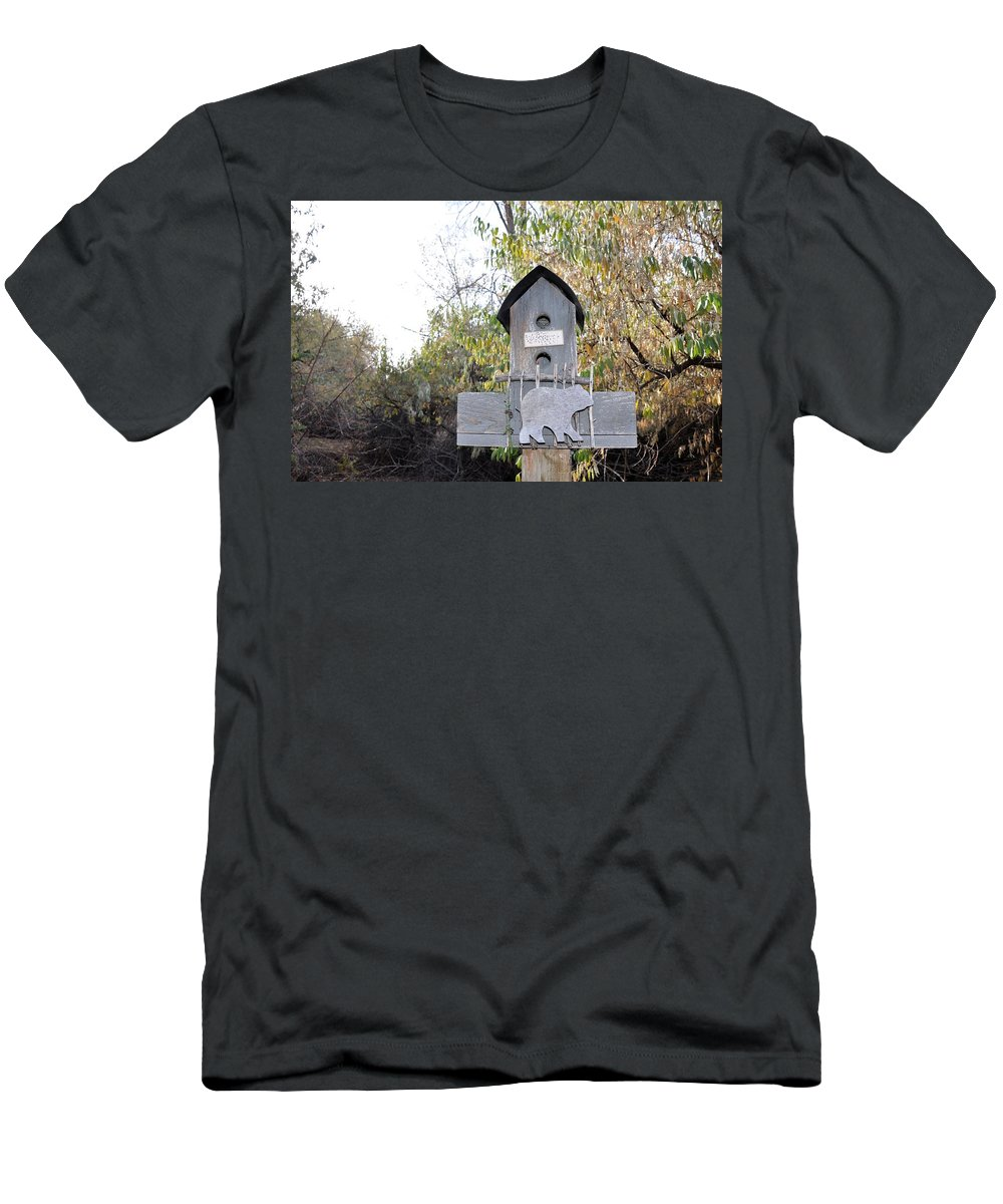 Melba; Idaho; Birdhouse; Shelter; Outdoor; Fall; Autumn; Leaves; Plant; Vegetation; Land; Landscape; Tree; Branch; House; Bear Men's T-Shirt (Athletic Fit) featuring the photograph The Birdhouse Kingdom - The Loggerhead Shrike by Image Takers Photography LLC - Carol Haddon