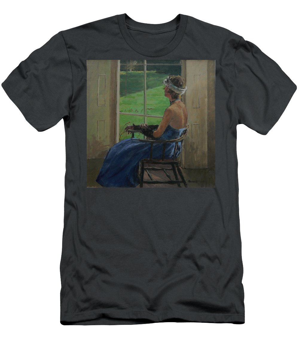 Female Men's T-Shirt (Athletic Fit) featuring the photograph The Blue Dress, 2009 Oil On Canvas by Pat Maclaurin