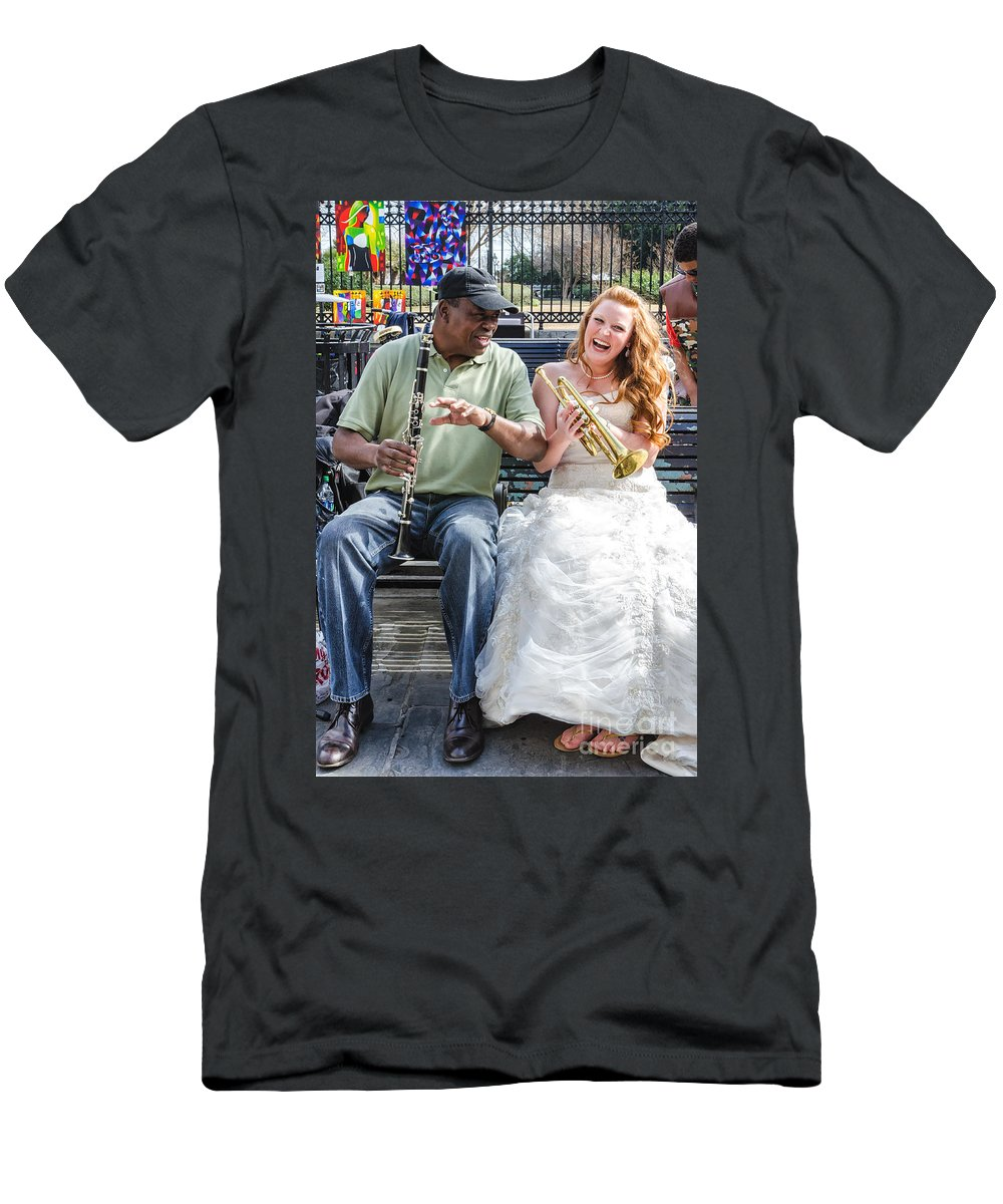 Bride Men's T-Shirt (Athletic Fit) featuring the photograph The Bride Plays The Trumpet- Destination Wedding New Orleans by Kathleen K Parker