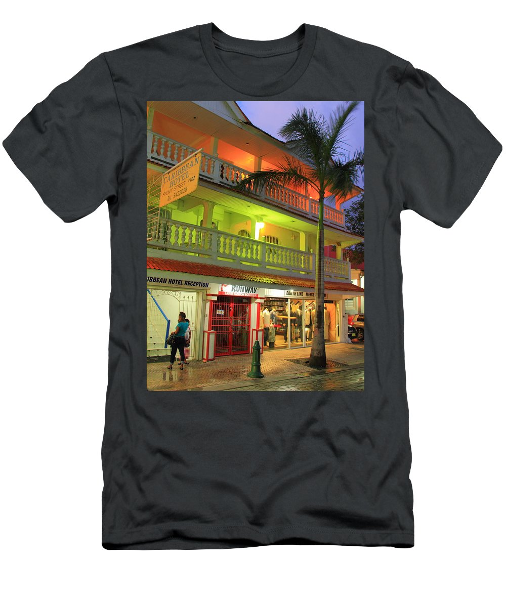 Caribbean Men's T-Shirt (Athletic Fit) featuring the photograph The Caribbean Hotel by Roupen Baker