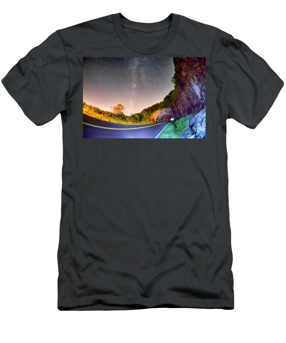 Parkway Men's T-Shirt (Athletic Fit) featuring the photograph The Craggy Pinnacle Tunnel On The Blue Ridge Parkway by Alex Grichenko