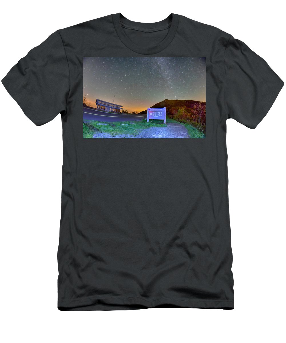 Parkway Men's T-Shirt (Athletic Fit) featuring the photograph The Craggy Pinnacle Visitors Center At Night by Alex Grichenko