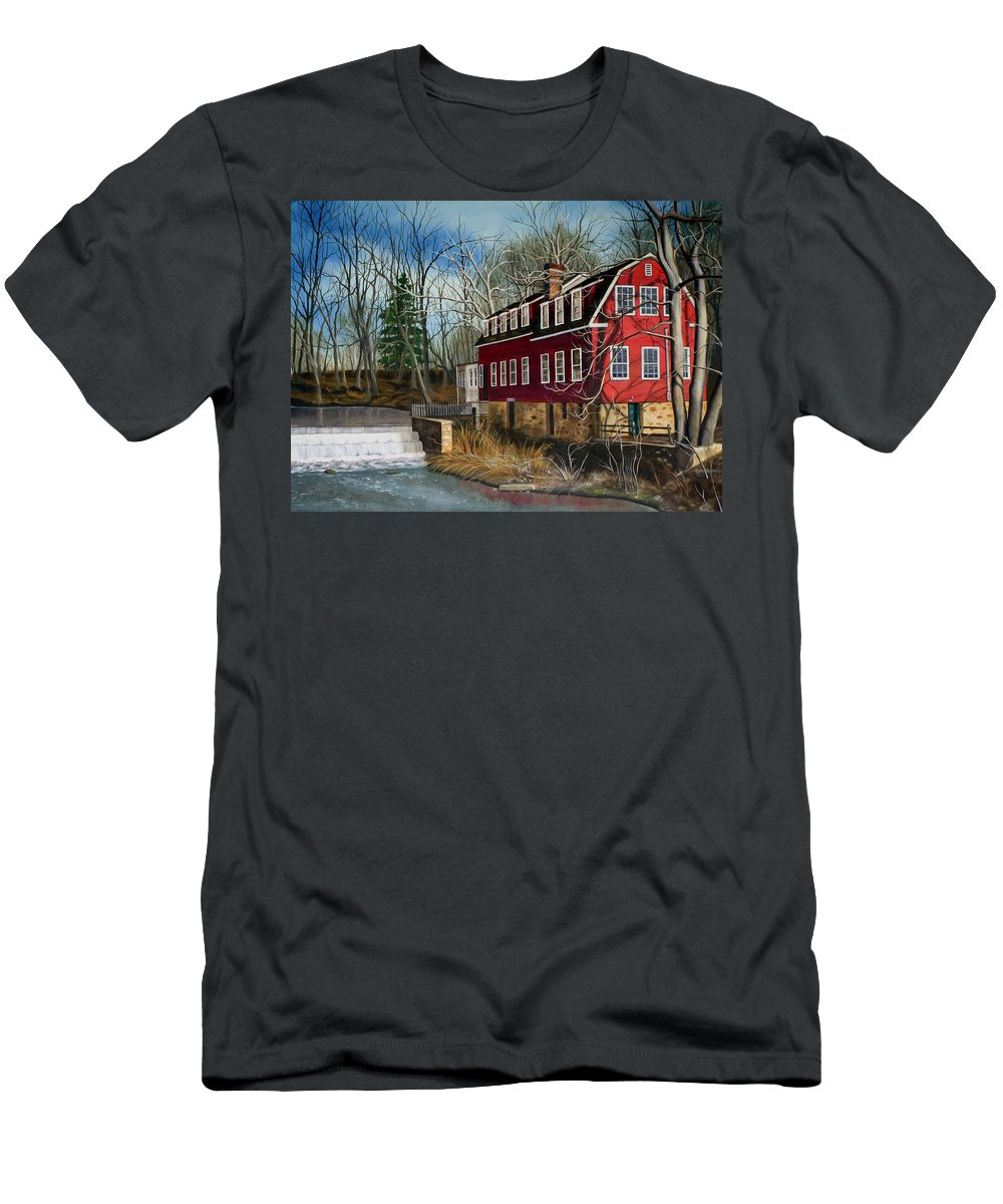 Mill Men's T-Shirt (Athletic Fit) featuring the painting The Cranford Mill by Daniel Carvalho