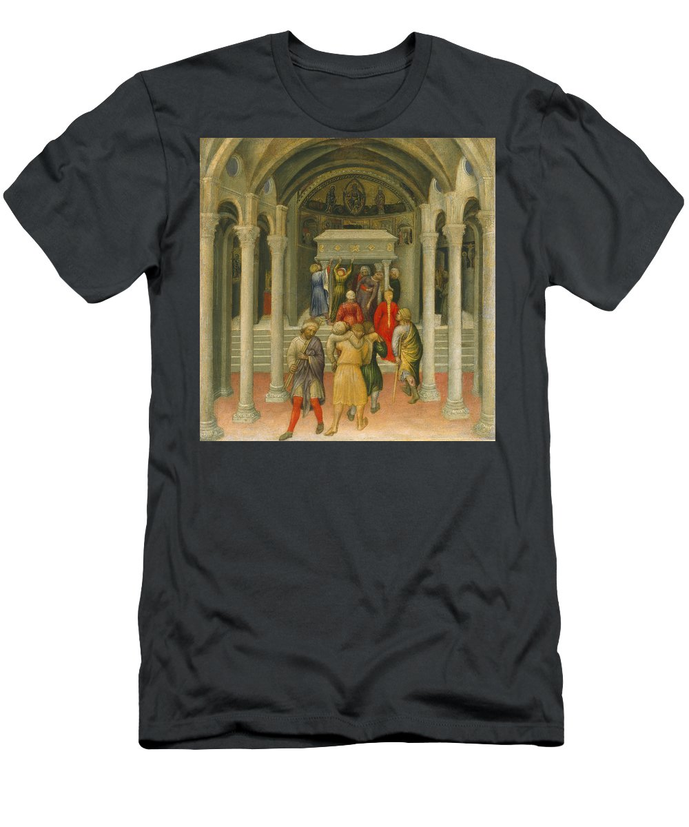 Miracle; Pilgrims; Pilgrim; St; Nicholas's; Carrying; Lame; Cripple Men's T-Shirt (Athletic Fit) featuring the painting The Crippled And Sick Cured At The Tomb Of Saint Nicholas by Gentile da Fabriano