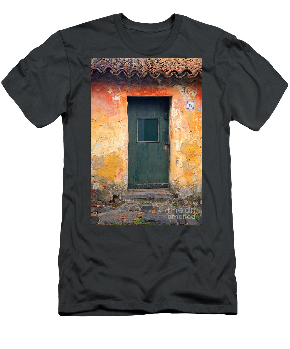 Colonia Del Sacramento Men's T-Shirt (Athletic Fit) featuring the photograph The Door by Bernardo Galmarini