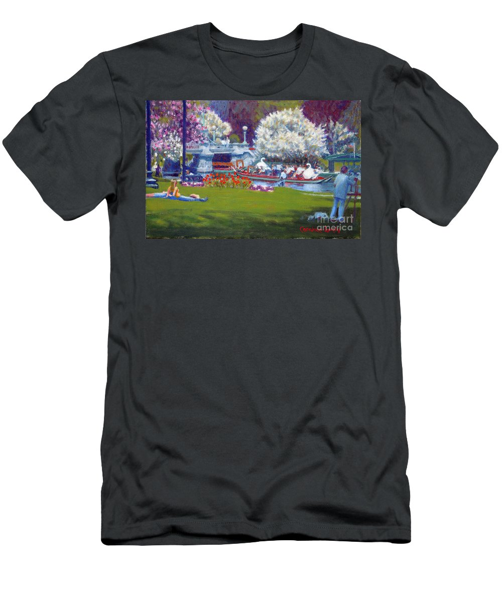 Boston Public Garden Men's T-Shirt (Athletic Fit) featuring the painting The Frog Pond by Candace Lovely