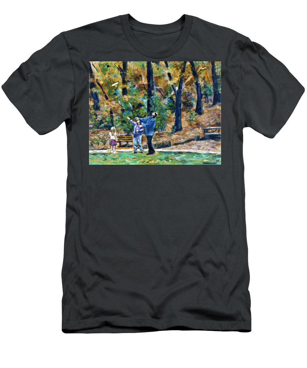 the Glider Autumn Leaves Orange Trees Families Family Child Childhood Children parents And Children Glider Park Parks paper Plane Nature Natural Environmentalgolden Green Figures Recreation Recreational parents And Kids Men's T-Shirt (Athletic Fit) featuring the painting The Glider by Faye Cummings