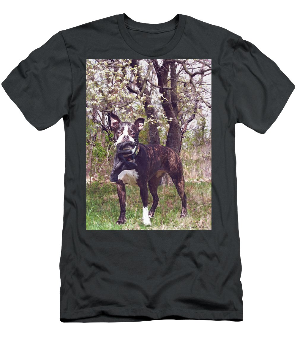 Dog Men's T-Shirt (Athletic Fit) featuring the photograph The Glove Is Off by Bonnie Willis