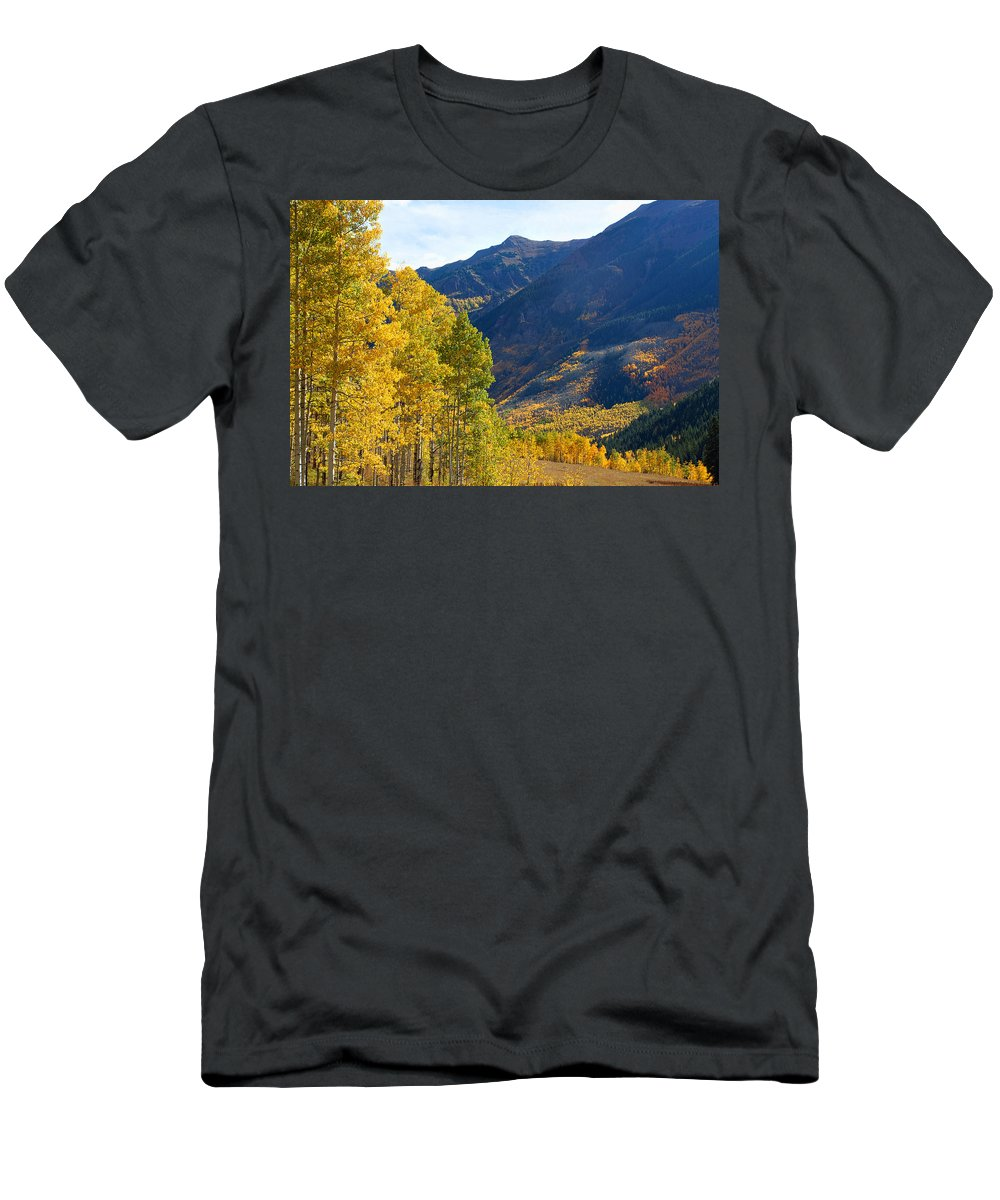 Autumn Colors Men's T-Shirt (Athletic Fit) featuring the photograph The Golden Gate by Jim Garrison