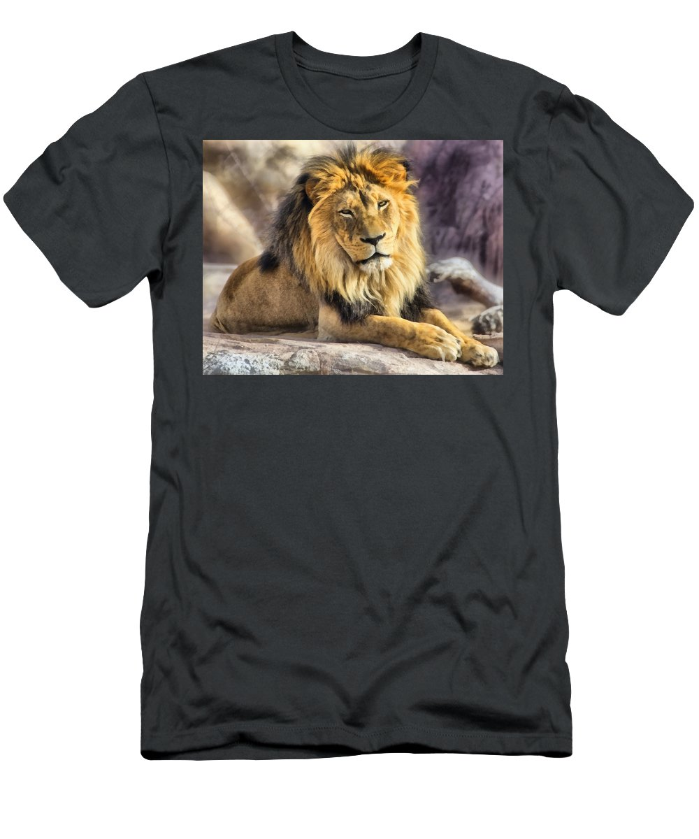 Lion Men's T-Shirt (Athletic Fit) featuring the mixed media The Golden King 2 by Angelina Vick
