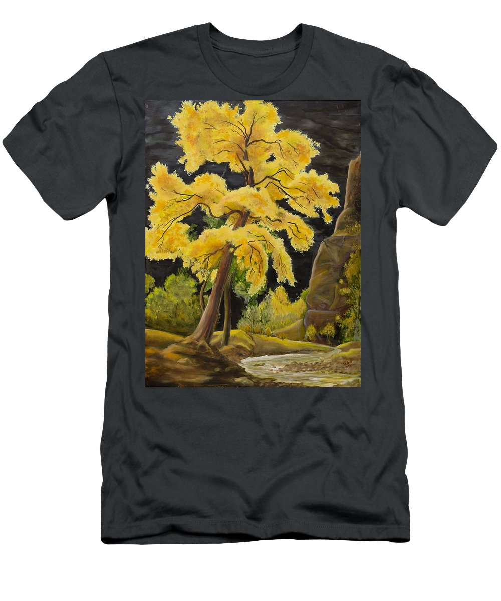 Tree Men's T-Shirt (Athletic Fit) featuring the painting The Golden Tree by Gladys Berchtold