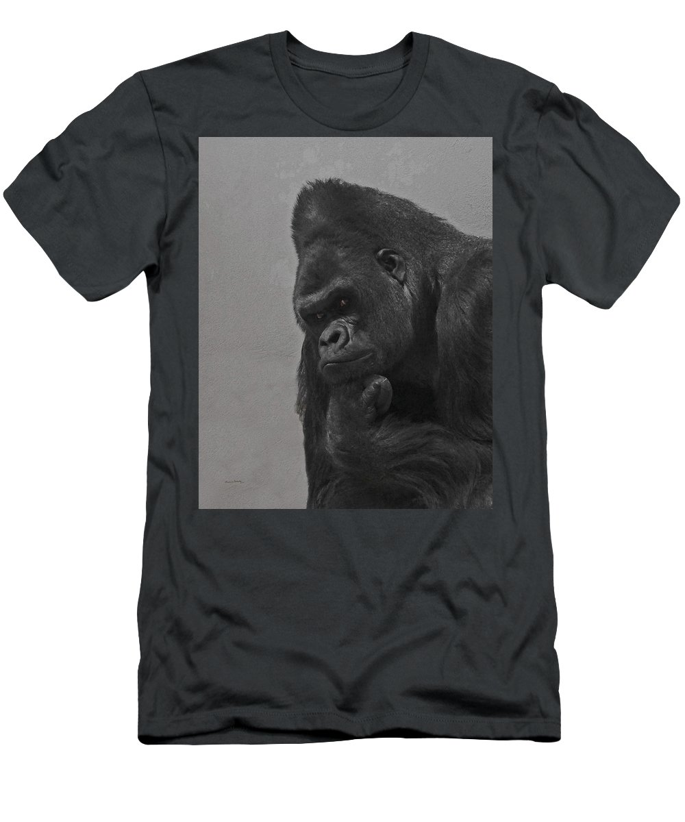 Gorilla Men's T-Shirt (Athletic Fit) featuring the digital art The Gorilla by Ernie Echols