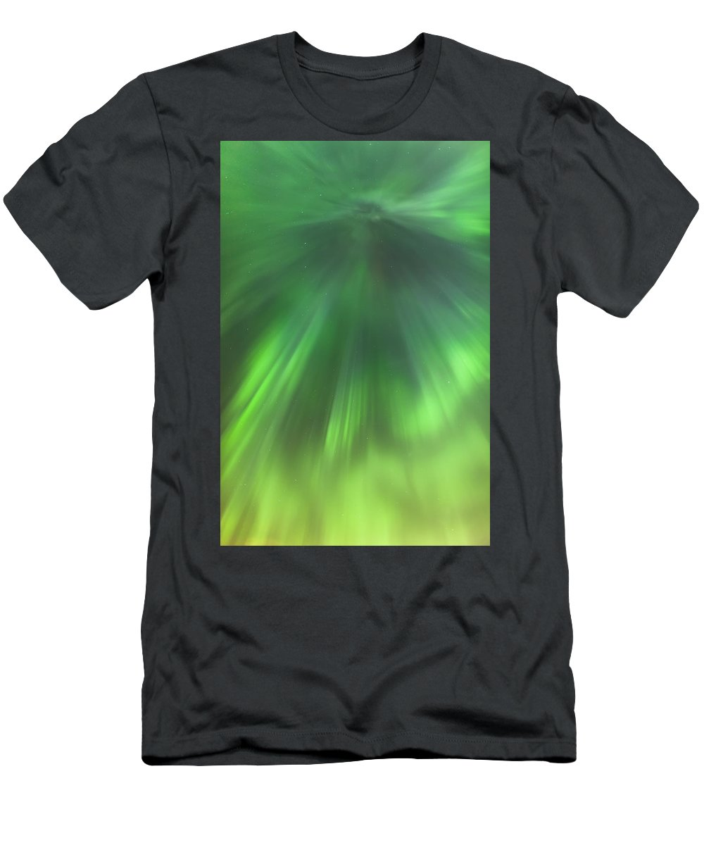 Aurora Borealis Men's T-Shirt (Athletic Fit) featuring the photograph The Green Northern Lights Corona by Kevin Smith