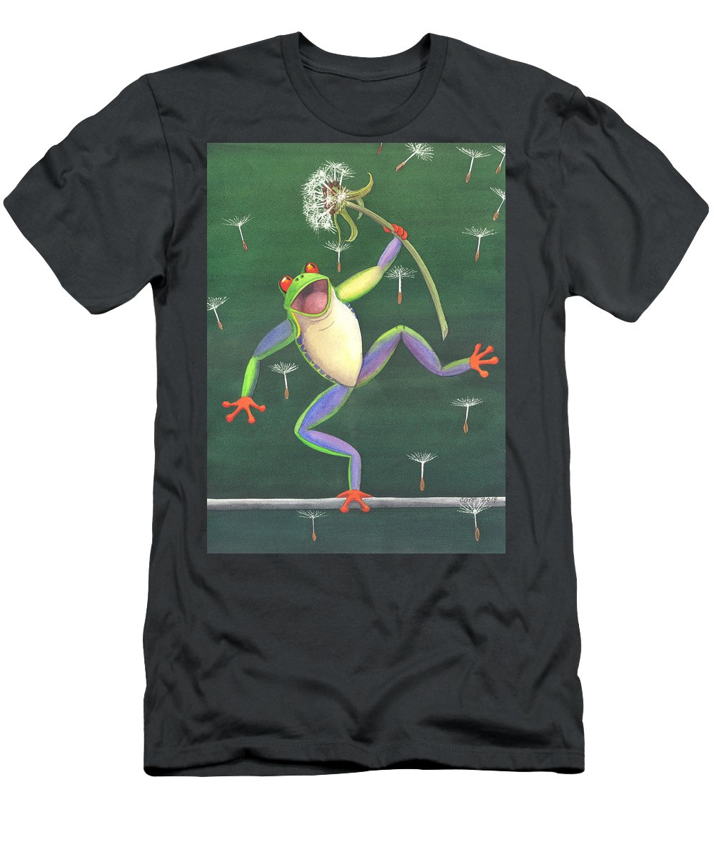 Frog Men's T-Shirt (Athletic Fit) featuring the painting The High Wire by Catherine G McElroy