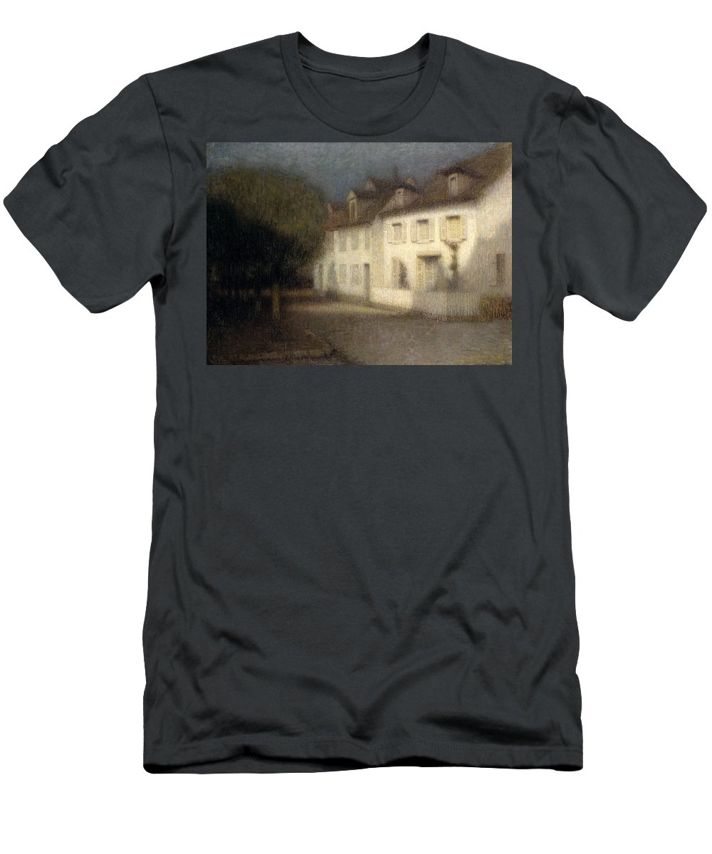 Post-impressionist Men's T-Shirt (Athletic Fit) featuring the painting The House by Henri Eugene Augstin Le Sidaner