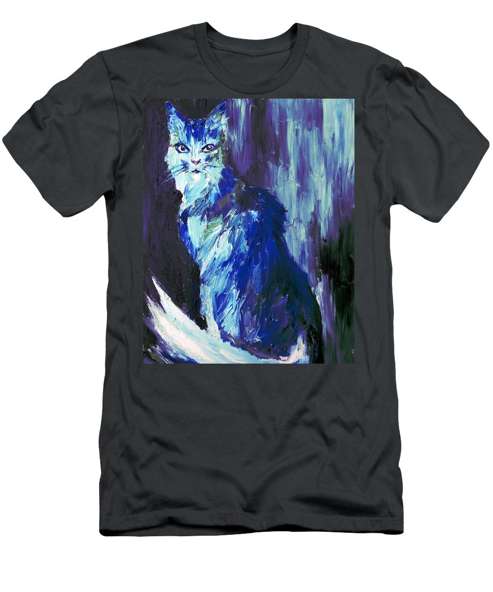 Cat Men's T-Shirt (Athletic Fit) featuring the painting The Intuitive Silence Trembling With A Name by Fabrizio Cassetta