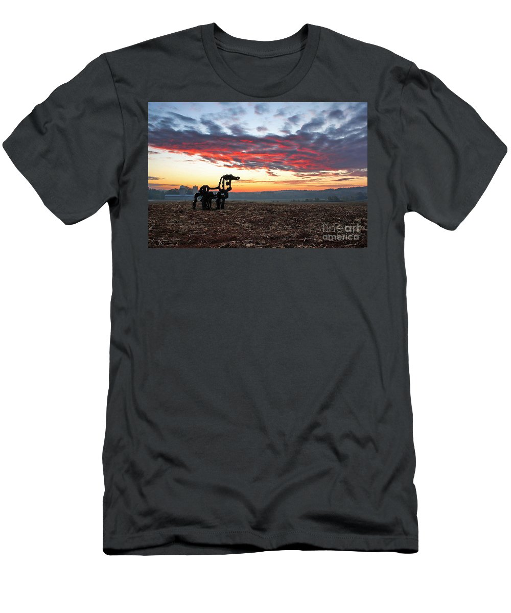 The Iron Horse Men's T-Shirt (Athletic Fit) featuring the photograph The Iron Horse Early Dawn The Iron Horse Collection Art by Reid Callaway