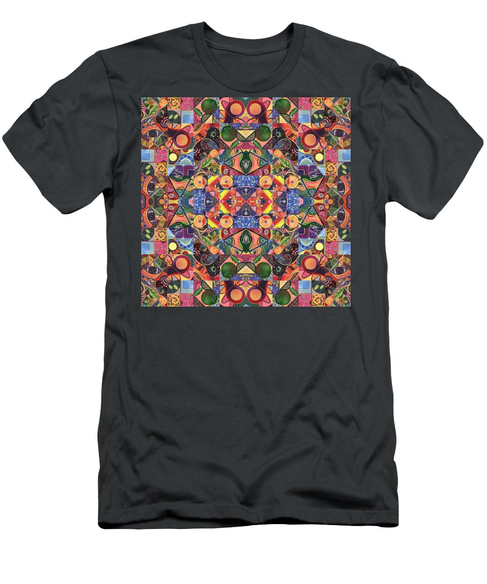 Mandala Men's T-Shirt (Athletic Fit) featuring the painting The Joy Of Design Mandala Series Puzzle 2 Arrangement 3 by Helena Tiainen