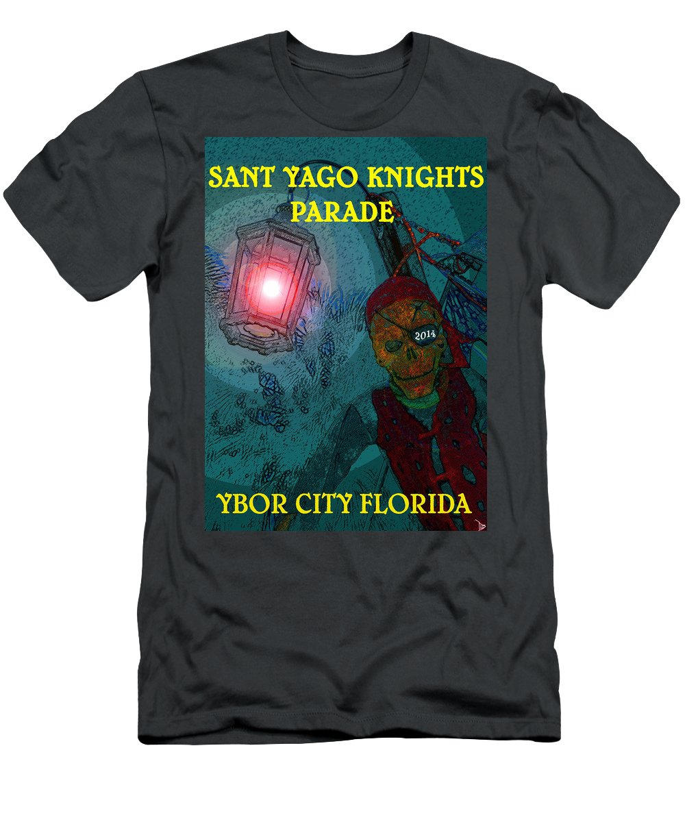 Sant Yago Knights Parade Ybor City Florida Men's T-Shirt (Athletic Fit) featuring the painting The Knights Parade by David Lee Thompson